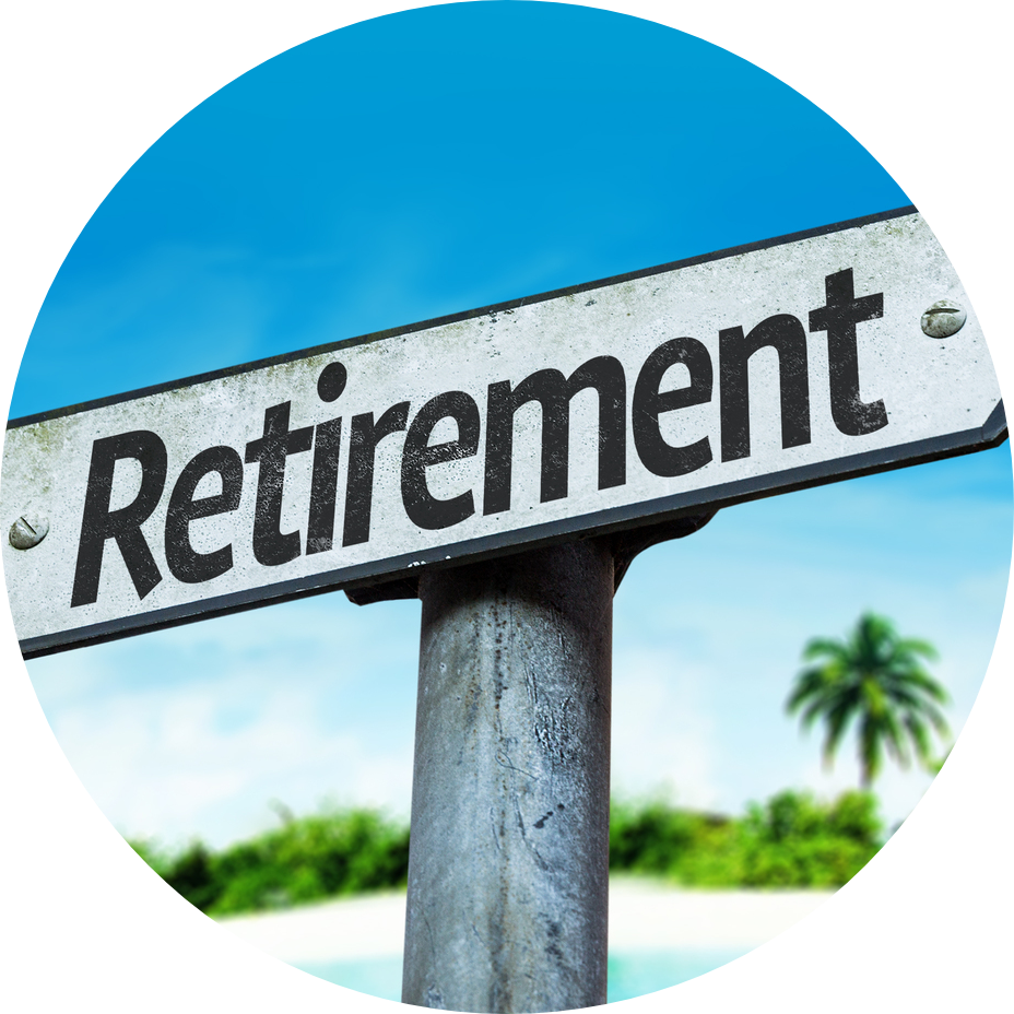 retirement sign circle